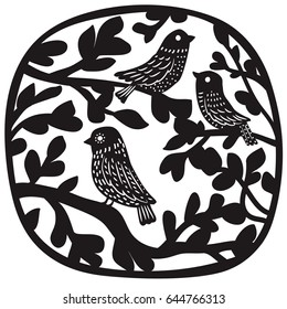 Birds on branches. Paper or laser cutting illustration.