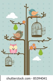 birds on tree branch vector/illustration