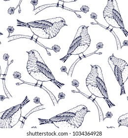 Birds on a tree branches seamless pattern over white. Vector illustration