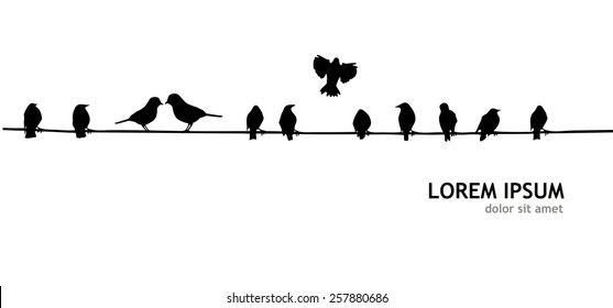 Birds on the wire. Vector