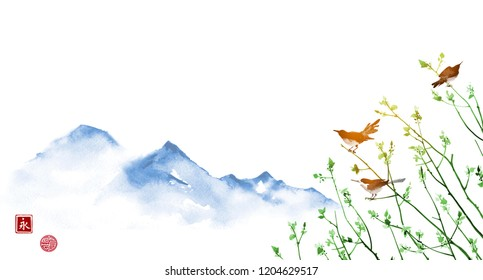 Birds on young tree branches and far blue mountains. Traditional Japanese ink painting sumi-e, u-sin, go-hua. Hieroglyph - eternity