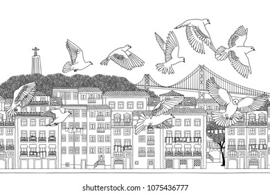 Birds over Lisbon - hand drawn black and white illustration of the city with a flock of pigeons
