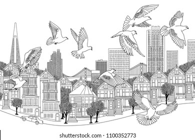 Birds over San Francisco - hand drawn black and white illustration of the city with a flock of pigeons