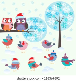 Birds and owls in winter forest .Vector set