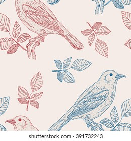 Birds pattern, retro birds background