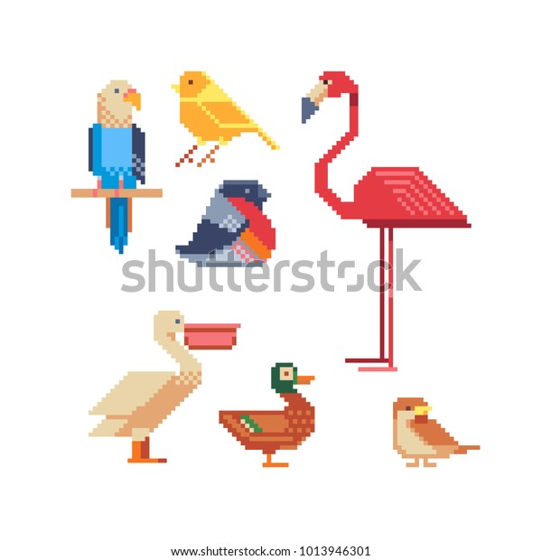 Image Vectorielle De Stock De Birds Pixel Art Set Logo
