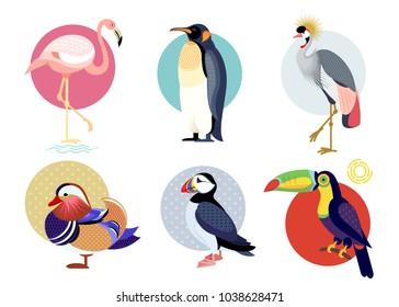 Birds puffin, mandarin duck, flamingos, toucan, penguin, bird secretary isolated on white background. Vector illustrations animals. Flat icons set.