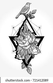 Birds and rose, tattoo and t-shirt design boho art
