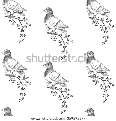 Birds Seamless Patternhand Draw Pigeons Stock Vector Royalty Free