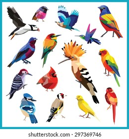 Birds set of colorful low poly designs isolated on white background.
