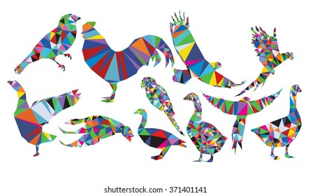 Birds set polygonal style from big animal set