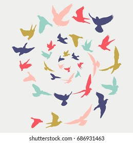 Birds silhouette vector illustration. Abstract background.