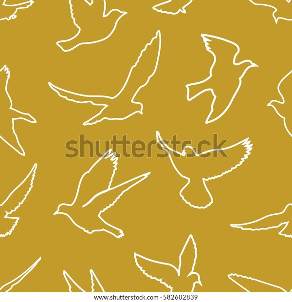 Birds silhouettes - flying seamless pattern
