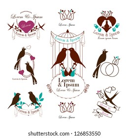 Birds Silhouettes And Vintage Elements Isolated On White Background - Vector Illustration, Graphic Design Editable For Your Design. Valentines Day Elements. Logo Symbol