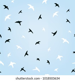 Birds in the sky flying seamless pattern, vector graphic illustration