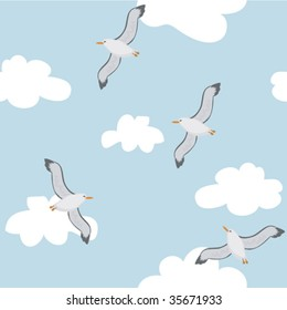 Birds in the sky. A vector seamless illustration