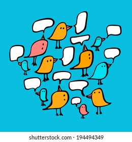 Birds and speech bubbles