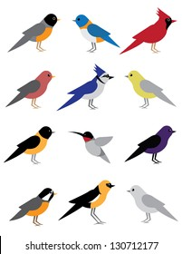 Birds of Spring. EPS 8 vector, grouped for easy editing. No open shapes or paths.