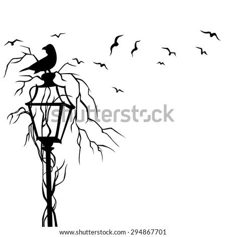 birds street wall decal vector illustration stock vector (royalty