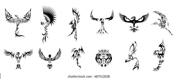 birds tattoos collection set