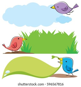 Birds with text holders.