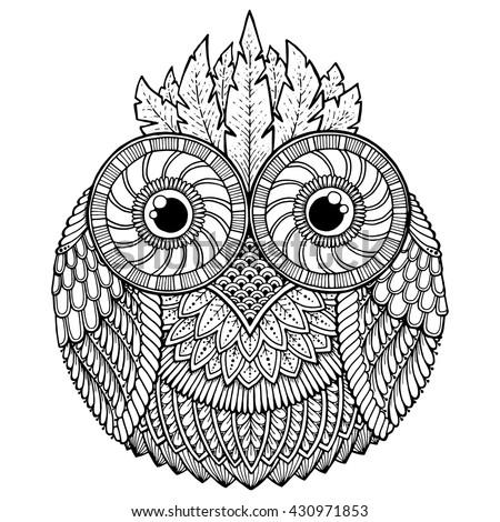 Birds Theme Owl Black White Mandala Stock Vektorgrafik Lizenzfrei
