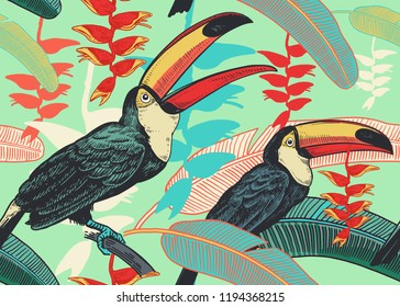 Birds toucans on background of tropical leaves and flowers. Floral seamless pattern for design paper, wallpaper, textile. Vector illustration of nature. Vintage. Hand drawing of the wild world.