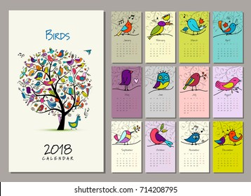 Birds tree, calendar 2018 design Vector illustration