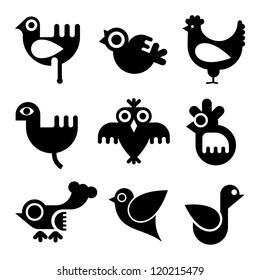 Birds - vector icon set. Isolated black icons on white background.