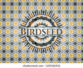 Birdseed arabesque style badge. arabic decoration.