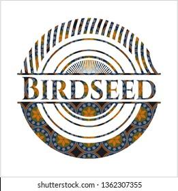 Birdseed arabesque style emblem. arabic decoration.