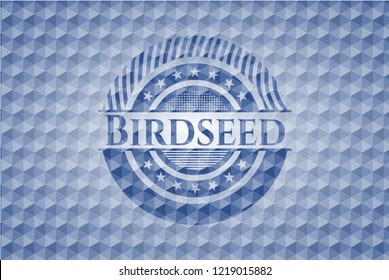 Birdseed blue badge with geometric pattern.