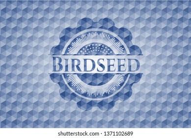 Birdseed blue polygonal emblem.