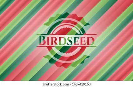 Birdseed christmas badge. Vector Illustration. Detailed.
