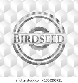 Birdseed grey badge with geometric cube white background