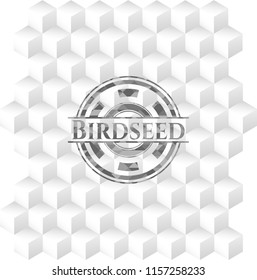 Birdseed grey emblem with cube white background