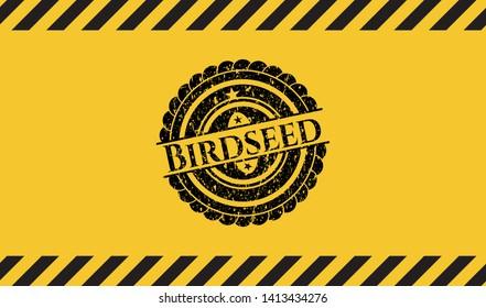 Birdseed inside warning sign, black grunge emblem. Vector Illustration. Detailed.
