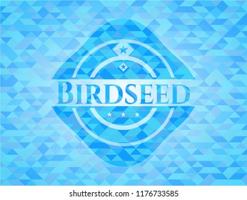 Birdseed light blue emblem with triangle mosaic background