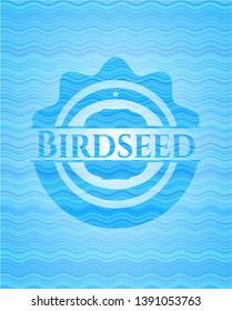 Birdseed light blue water badge background. Vector Illustration. Detailed.