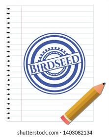 Birdseed pen draw. Blue ink. Vector Illustration. Detailed.