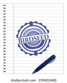 Birdseed pen effect. Blue ink. Vector Illustration. Detailed.