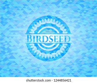 Birdseed realistic light blue emblem. Mosaic background