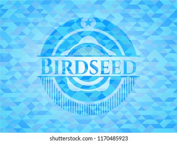 Birdseed realistic sky blue emblem. Mosaic background