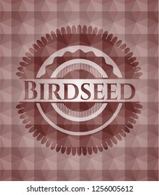 Birdseed red polygonal badge. Seamless.