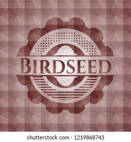 Birdseed red seamless emblem or badge with abstract geometric polygonal pattern background.