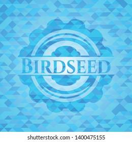 Birdseed sky blue emblem with triangle mosaic background