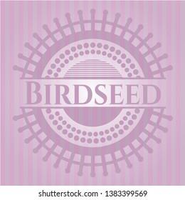 Birdseed vintage pink emblem. Vector Illustration. Detailed.