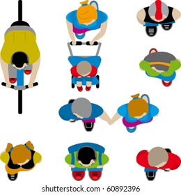 a birdseye view of people (vector)