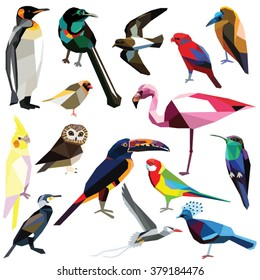 Birds-set colorful low poly design isolated on white background.