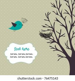 Bird,tree and nest